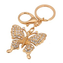 Wholesale Cute Butterfly Keychain - Butterfly Fly Lovely Cute Crystal Charm Purse Handbag Car Key Keyring Keychain Party Wedding Favor Birthday Gift DHL Free Shipping