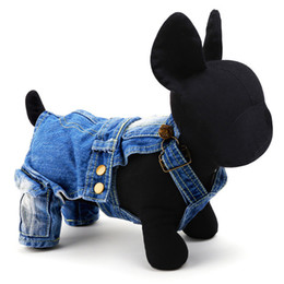 Wholesale Overalls Male - Freeshipping New arrivals pet clothes denim jeans dog overalls puppy clothes in Spring and Summer for Chihuahua Poodle Pug