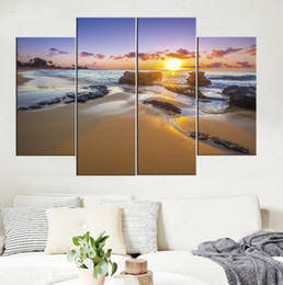 Wholesale Paint Rock Wall - HD Print Rocks and Beaches In The Sunset Frameless Paintings 4pcs(No Frame)Printd on Canvas Wall Art HD Print Painting Picture