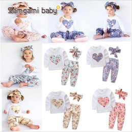Wholesale Wholesale Unisex Headbands - Baby Clothes Girls Ins Floral Outfits Toddler Long Sleeve T Shirt Pants Headband Suits Infant Heart-Shaped Flowers Tops Pants Hairband B2999