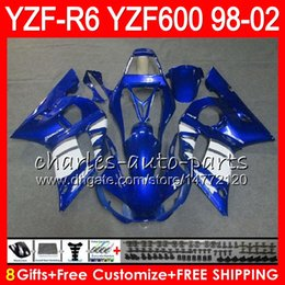 Wholesale Yamaha Blue - 8Gifts 23Color For YAMAHA YZF600 YZFR6 98 99 00 01 02 YZF-R600 54HM8 YZF 600 YZF-R6 YZF R6 blue black 1998 1999 2000 2001 2002 Fairing kit