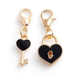 Wholesale Locking Slide Clasp - 20pcs lot Gold Plated Heart Lock Key Floating Pendant Charms With Lobster Clasp Fit For Chain Locket Necklace Bracelet Making