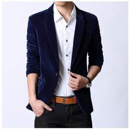 Wholesale Long Sleeve Red Formal For Men - Wholesale- 2016 European designer fashion brand luxury men gentleman formal business full Suit Jackets slim Jackets for men black red blue