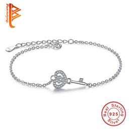 Wholesale Key Chain Lockets Jewelry - BELAWANG Lover Anniversary Romantic 925 Sterling Silver Symbol of Love Locket Key Heart Bracelet Fashion Jewelry for Women Bracelets&Bangles