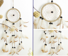 Wholesale Handmade Crafts For Birthdays - Dream Catcher Wind Chimes Feather Handmade Dreamcatcher Net For Car Wall Hanging Decoration Craft Birthday Wishes Gifts B952L
