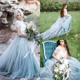 tops largos y simples Rebajas 2017 Nuevo Vintage Gris Claro Vestidos de Novia de Bohemia Vestidos De Noiva Top de Encaje de Tul Vestido Largo de Novia País BA4363