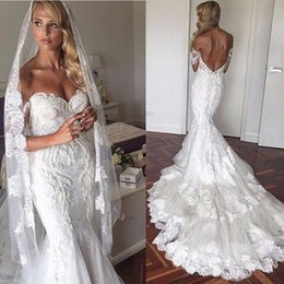 Wholesale Full Chiffon Skirt - 2017 sweetheart mermaid off-shoulder open back Sheath White modest wedding dresses with sleeves full lace 12y country wedding dresses