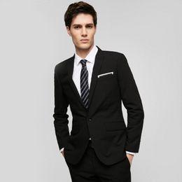 Elegante chaqueta de esmoquin negro online-Trajes de hombre negro y azul chaqueta a medida para hombre boda smokinges chaqueta simple elegante traje de negocios formal chaqueta