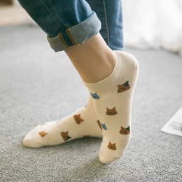 Wholesale Cartoon Faces Socks - Wholesale- New cartoon cute cat face thin section invisible shallow mouth women's cotton socks short tube socks spring and summer