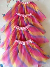Wholesale Mini Summer Layer Skirt - 2016 New Rainbow color kids tutus skirt dance dresses soft tutu dress ballet skirt 3 layers children pettiskirt clothes