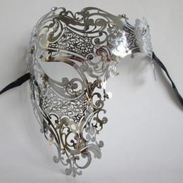 Wholesale Filigree Skulls - Wholesale- Black Silver Half Face Skull Phantom Metal Filigree Venetian Party Mask Gold Red Diamond Laser Cut Masquerade Ball Costume Masks