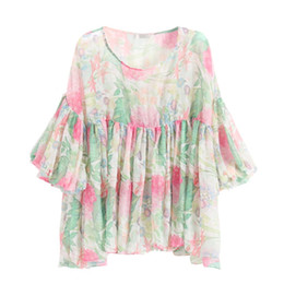 Wholesale DE New Design Photos Blouse and Gray Leggings Lantern Sleeve Chiffon Blouse Summer Shirt Sweet Plus Size Style
