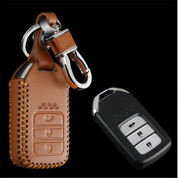 Wholesale Car Remote Case Cover - Car Genuine Leather Remote Control Car Keychain Key Cover Case For Honda CRV Accord Civic Vezel 3Button Smart Key s11