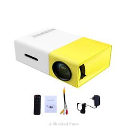Wholesale Original Media Player - Original YG300 Mini Projector LED Portable Cute Projector 500LM 3.5mm HDMI USB Mini YG-300 Projector Home Media Player Free Shipping