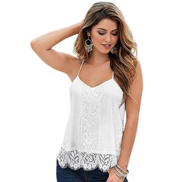 Wholesale Ladies Tops Design Lace - Wholesale- Fashionable New Design Hot selling High Quality Lady Sweet Spaghetti Strap Lace Solid White Color Tank Top for Women