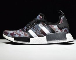 Wholesale Gray Canvas Fabric - wholesale NMD green purple camo Men and Women Casual Shoes black gray Red yellow Blue red running free shipping size USA 5 10