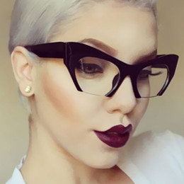 Wholesale Color Frame Clear Glasses Wholesale - ALOZ MICC Fashion Women Classic Cat Eye Glasses New Half Frame Vintage Cateye Sunglasses And Clear Lens UV400 A115