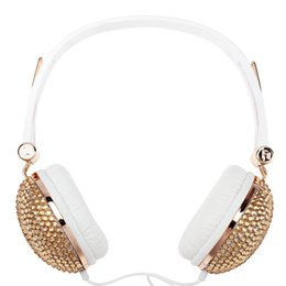 Wholesale Anti Noise Pc - 2017 Newest Bling Headphones Anti-noise Music Fashion Earphone with Artificial Shiny Crystal Rhinestone for DJ Mobile Phone PC