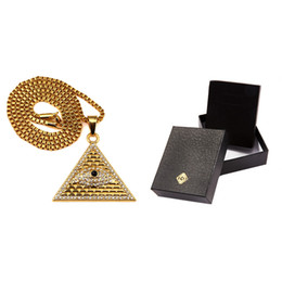 Wholesale Pyramid Faces - 18K Gold Plated Egyptian Pyramid necklaces pendants Men Women Iced Out Crystal Illuminati Evil Eye Of Horus Chains Jewelry Gifts