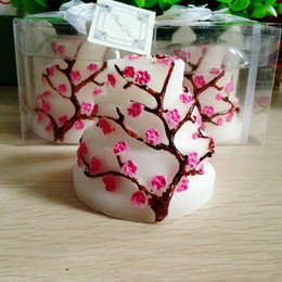 Wholesale Birthday Cake Shaped Candle - Sakura Cake Candle Wedding Birthday Supplies Creative Baby Shower Wedding Party Favor Wintersweet Plum Blossom Cake Shape Candles