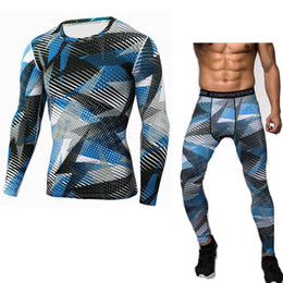 Wholesale Bodybuilding T Shirts Mens - Mens Sets Bodybuilding Camouflage Compression Shirts and Leggings Crossfit Exercise Workout Skin Tight T Shirt Brand Clothing