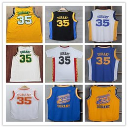 Wholesale Nwt Shirt - NWT 2017 Kevin Durant 35 Jerseys Basketball Uniforms Blue White Yellow Black Green Throwback Kevin Durant Sports Vintage College Shirts