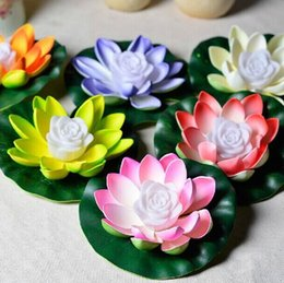 Wholesale red lotus plant - LED Lotus Lamp Changing LED Artificial Lotus flower floating water plant Wedding Party Decorations Supplies