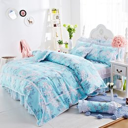 Wholesale Pink Stripe Twin Comforter - Beautiful Newest Luxury Princess Lace bedding set cotton Bedding Duvet cover Bed Skirts bedding gifts for girls and womens
