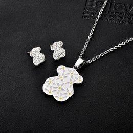 Wholesale Wholesale Crystal Bears - Cartoon Bear Cubs titanium jewelry wholesale Necklace Earrings Set