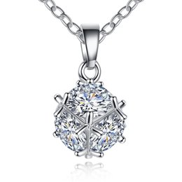 Wholesale Small Ball Necklace Chain - New Arrivals White Gold Color Pave Small Round Ball AAA+ Zircon CZ Chain Necklace Fashion Party Jewelry for Women Hot Gift