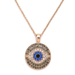 Wholesale Wholesale Fashion Jewelry Turkey - Fashion Crystal Rhinestones Turkey Blue Eye Necklace Amulet Statement Pendant Necklace for Women Jewelry Accessory Wholesale