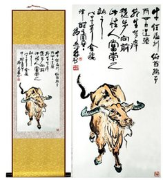 Wholesale Bull Canvas Painting - 1 Piece HD Printed Bull Animal Wall Pictures Chinese Scroll Silk Wall Art Poster Picture Painting Home Decoration Wall Hanging