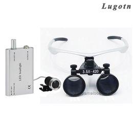 Wholesale Head Light Lens - 3.5X magnify with head light binocular antifog lens led loupe surgical magnifier dental enlarger
