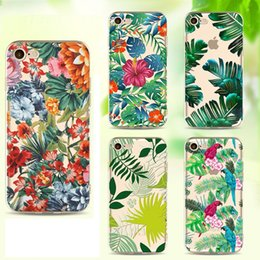 Wholesale Tree Case For Iphone - Tropical rainforests tree TPU painting cell phone Case For Apple iPhone 5S 6S 7 Plus case ultra thin soft PC back silicone phone cover shell
