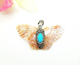 Wholesale Abalone Butterfly Pendants - Wholesale 2 PCS Natural Druzy Shell Butterfly Pendant,with Crystal Rhinestone Paved Beads,Druzy Gemstone Pendant for Jewelry Making