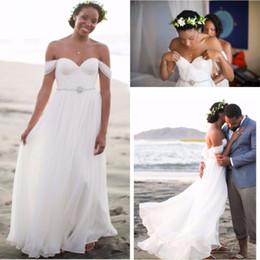 Wholesale Sexy Elegant Beads Sweetheart Chiffon - Simple Elegant Sweetheart Beach Wedding Dresses 2016 Chiffon Floor Length Pleats Beaded Boho Bridal Gowns Vestido de Noiva