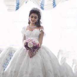 arabische brautkleider Rabatt 2019 Arabian Design Brautkleider Schatz Applizierte Perlen Floral Kurzarm Puffy Brautkleider Ballkleid