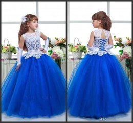 Wholesale cheap toddler ball gowns - Princess Ball Gown Pageant Dresses Cheap White Lace Jewel Neck Lace Up back Customize Formla Wear Floor Length Fashion Design Cheap Price