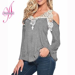 Wholesale Lace Long Sleeved Loose Top - Wholesale-Selling Brand 2016 T-shirt Female Summer Loose Big Yards Stitching Lace Long-Sleeved V-neck Sexy Strapless Women T-shirt Tops