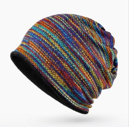 Rainbow Colorful Winter Beanie Women Fashion Bonnet con Fleece Nuevo multiusos Warm Hat Wholesale Unisex Cap CP-023 desde fabricantes