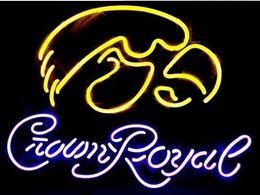 "Wholesale crown royal neon signs - 17""x14"" Crown Royal Custom Handmade Glass Tube Neon Light Sign"