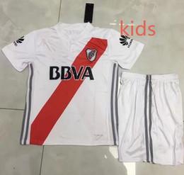 Wholesale River Football - 2017 2018 RIVER PLATE White kids set Soccer Jersey ALESSANDRO BALANTA CAVENAGHI VANGIONI 17 18 River Plate kids kit Football shirt