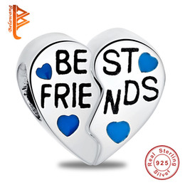 Wholesale Parts For Bracelets - BELAWANG Gift for Best Friend 925 Sterling Silver Heart Charm Beads Two Parts Big Hole Bead Fit Pandora Charm Bracelet DIY Jewelry Wholesale