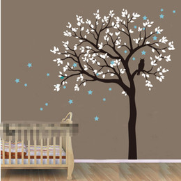 Wholesale Black Star Decal - DIY large Size Tree Owl Hoot Star Nursery Wall Stickers Removable Huge Tree Wall Decals Wall Mural Nursery Vinyls Children's Vinilos D-814