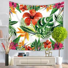 Wholesale Hang Carpet - Home Decorative Wall Hanging Carpet Tapestry 130x150cm Rectangle Bedspread Tropical Plant Print Pattern Yoga Mat Picnic Blanket