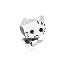 Wholesale Character Kitty - 30 European Silver Plated Big Hole Charms Spacer Loose Beads Fit Pandora Bracelets 925 Jewelry Little Cute Kitty for Sale Girls Mom Handmade