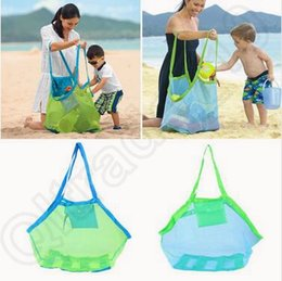 Wholesale Soccer Bag Wholesale - Children Baby Outdoor Beach Sandy Toy Clothes Towel Collecting Bags Shoulder Bags Large Space Mesh Bags Handbag Totes CCA5559 300pcs