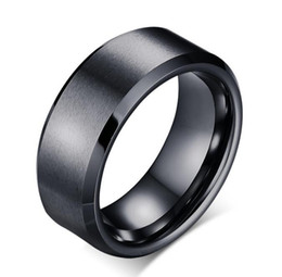 Wholesale Mens Black Engagement Rings - Mens Brushed Black Tungsten Ring wholesales bevel edges 8mm