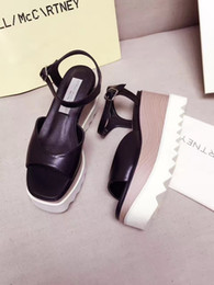 Wholesale Women Silver Wedge Shoes - Stella Mccartney Buckle Sandals Without Stars Elyse Cut-out Fashion Shoes Genuine Leather