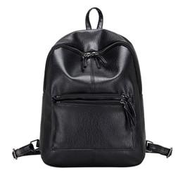 Wholesale College Korean Backpack - Wholesale- 2017 Fashion College Style Backpack Korean Women Backpacks Student Schoolbag Soft PU Leather Women Bag Leisure Travel Bag